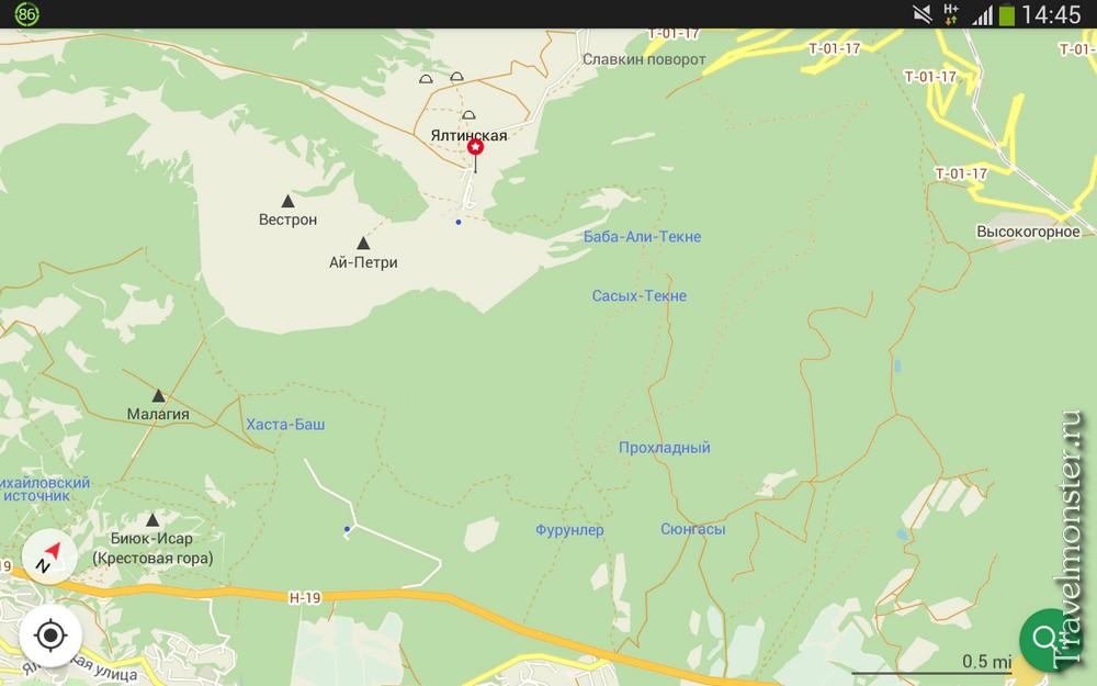 Пешеходные тропы на Ай-Петри в навигаторе - приложении MapsWithMe