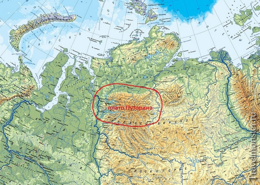 Плато Путорана на карте России в Красноярском крае