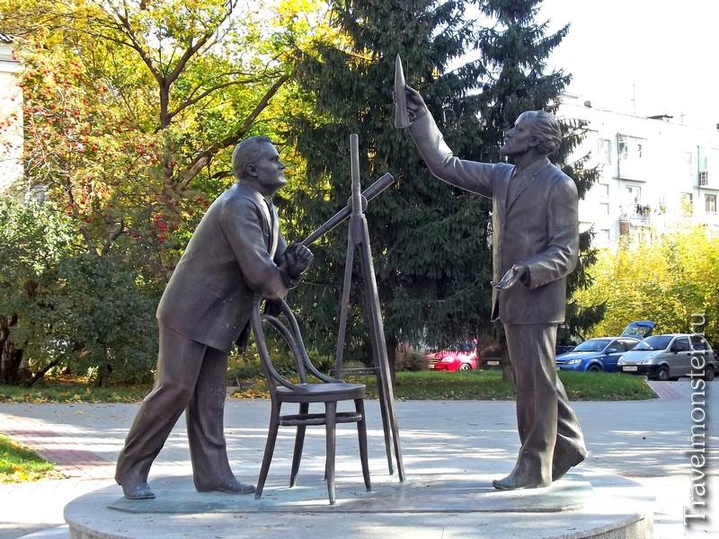 Памятник Встреча С. П. Королева и К. Э. Циолковского в Калуге