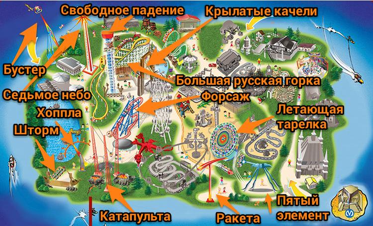 Схема экстремальных аттракционов на Диво Остров