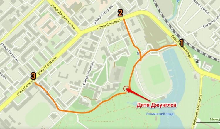 Карта-схема: как добраться до веревочного парка