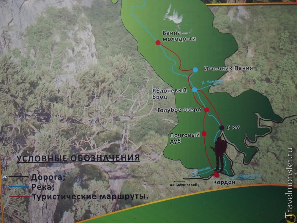 схема большого каньона Крыма
