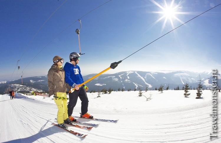 Подъемник горнолыжного склона в Чехии