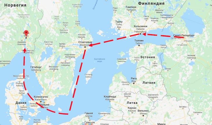 маршрут на пороме из Санкт-Петербурга